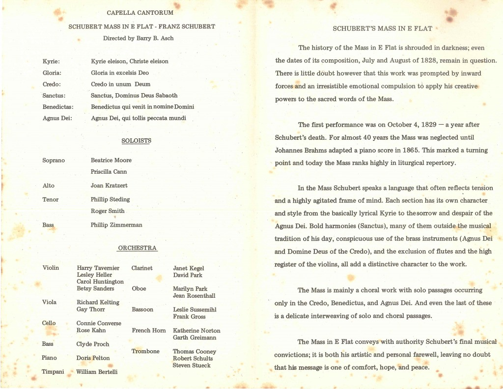 Schubert Mass in E flat major, March 22, 1970 full program inside