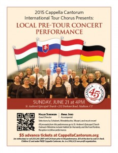 International Tour Chorus 2015 Local Pre-Tour Concert Performance Poster