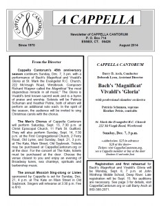 Newsletter Front Page, August 2014