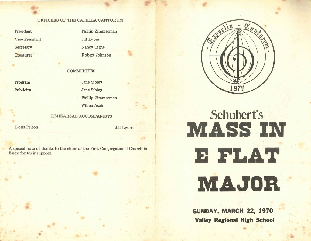 Schubert Mass in E flat major, March 22, 1970 full program cover