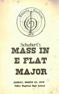 Schubert Mass in E flat major, March 22, 1970 program cover