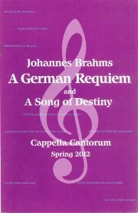 Brahms A GERMAN REQUIEM, Spring 2012, program cover