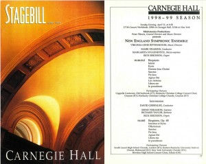 Durufle REQUIEM 1999, Carnegie Hall, program