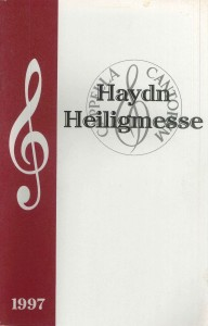 Haydn Heiligmesse, 1997, program cover