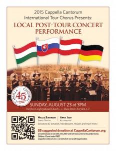 International Tour Chorus 2015 Local Post-Tour Concert Performance poster